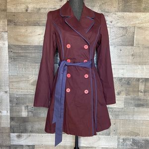 ModCloth Plum Burgundy Double Breasted Belted Coat